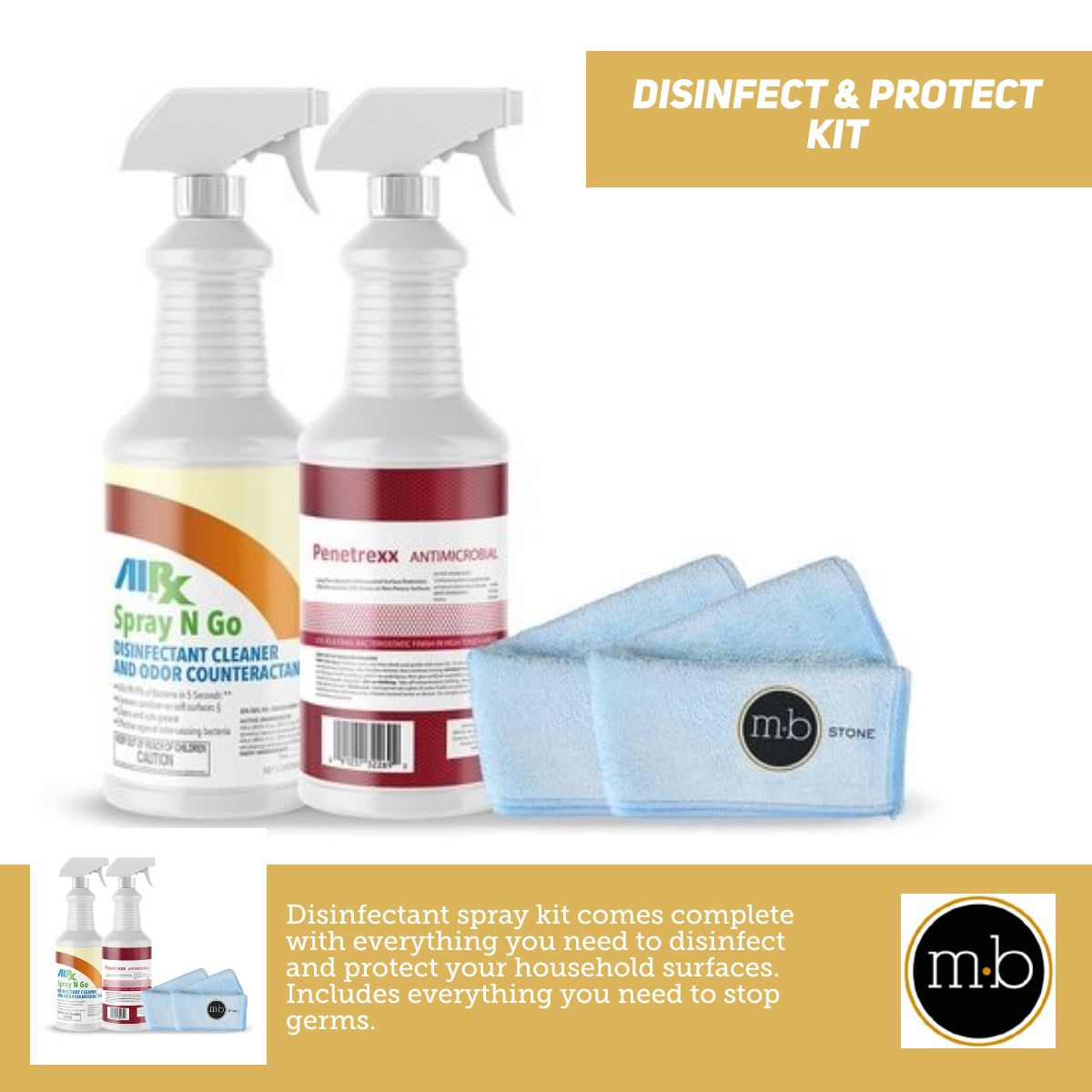 Disinfect & Protect Kit - Disinfectant Sprays with Microfiber Towels