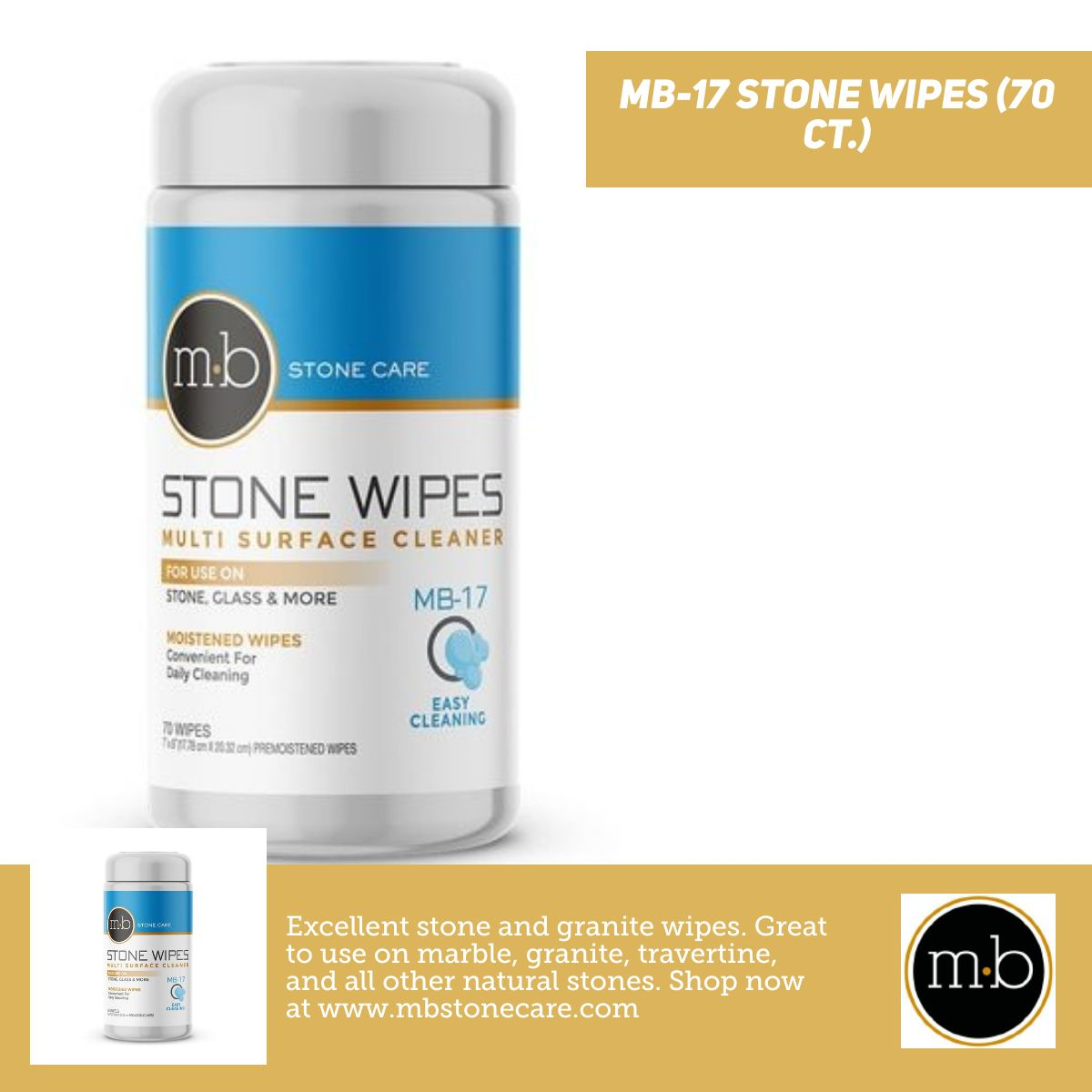 MB-17 Stone Wipes - Natural Stone Cleaning Wipes